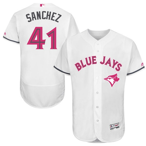 Men's Majestic Toronto Blue Jays #41 Aaron Sanchez Authentic White 2016 Mother's Day Fashion Flex Base MLB Jersey