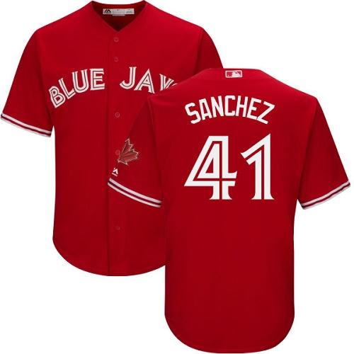 Men's Majestic Toronto Blue Jays #41 Aaron Sanchez Replica Scarlet Alternate Cool Base MLB Jersey