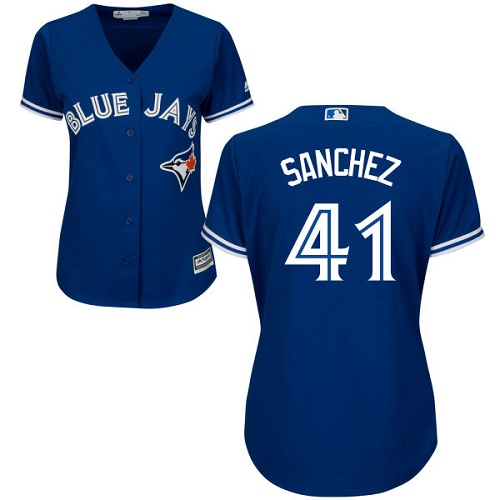 Women's Majestic Toronto Blue Jays #41 Aaron Sanchez Authentic Blue Alternate MLB Jersey