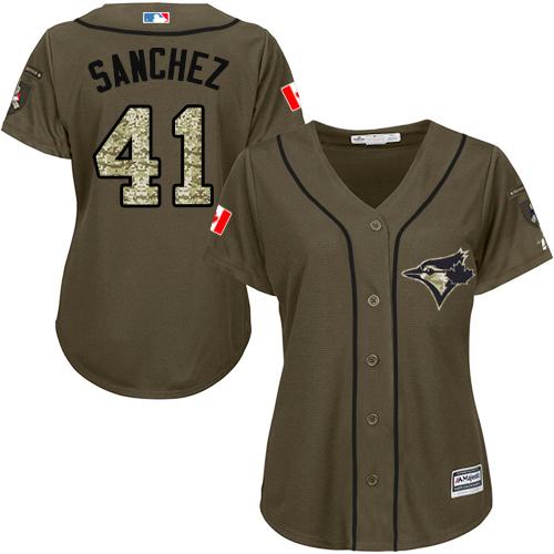Women's Majestic Toronto Blue Jays #41 Aaron Sanchez Authentic Green Salute to Service MLB Jersey
