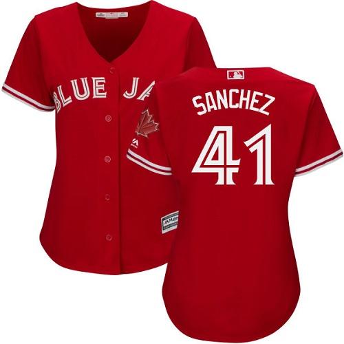 Women's Majestic Toronto Blue Jays #41 Aaron Sanchez Authentic Scarlet Alternate MLB Jersey