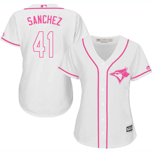 Women's Majestic Toronto Blue Jays #41 Aaron Sanchez Authentic White Fashion Cool Base MLB Jersey