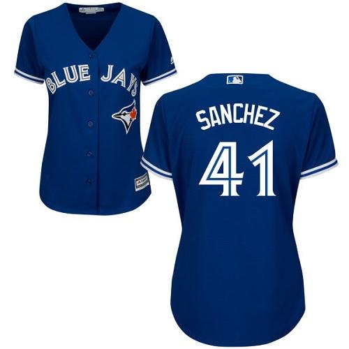 Women's Majestic Toronto Blue Jays #41 Aaron Sanchez Replica Blue Alternate MLB Jersey