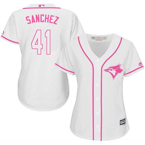 Women's Majestic Toronto Blue Jays #41 Aaron Sanchez Replica White Fashion Cool Base MLB Jersey