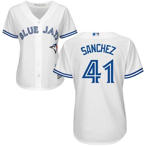 Women's Majestic Toronto Blue Jays #41 Aaron Sanchez Replica White Home MLB Jersey