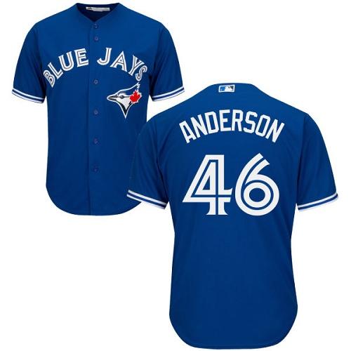 Men's Majestic Toronto Blue Jays #46 Brett Anderson Replica Blue Alternate MLB Jersey