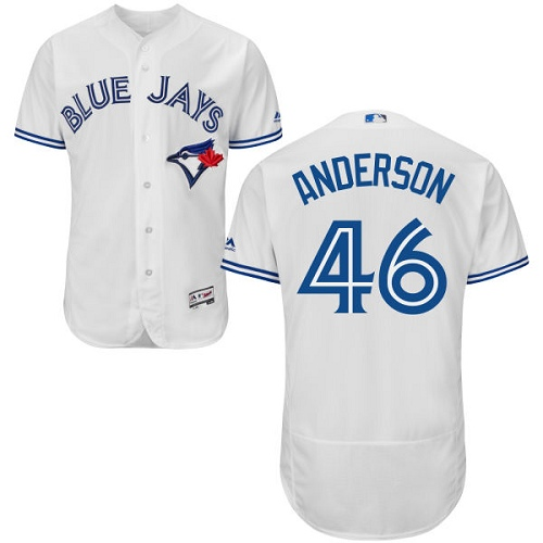 Men's Majestic Toronto Blue Jays #46 Brett Anderson White Flexbase Authentic Collection MLB Jersey