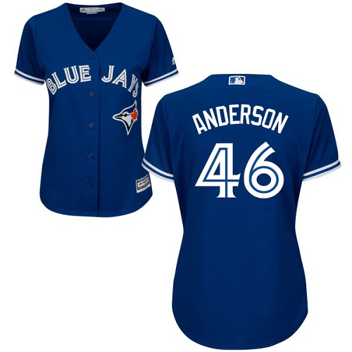 Women's Majestic Toronto Blue Jays #46 Brett Anderson Authentic Blue Alternate MLB Jersey