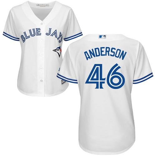 Women's Majestic Toronto Blue Jays #46 Brett Anderson Replica White Home MLB Jersey