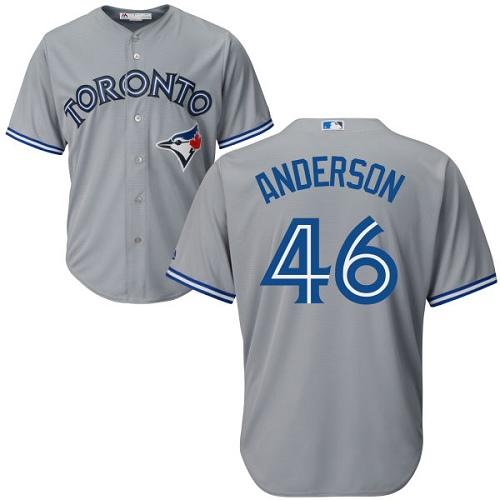 Youth Majestic Toronto Blue Jays #46 Brett Anderson Replica Grey Road MLB Jersey