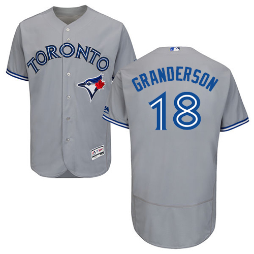 Men's Majestic Toronto Blue Jays #18 Curtis Granderson Grey Road Flex Base Authentic Collection MLB Jersey