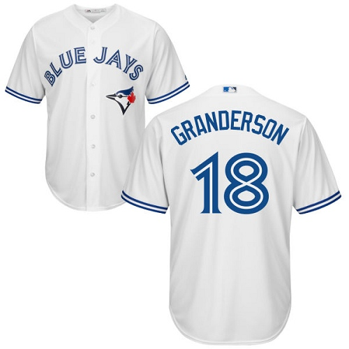 Men's Majestic Toronto Blue Jays #18 Curtis Granderson Replica White Home MLB Jersey
