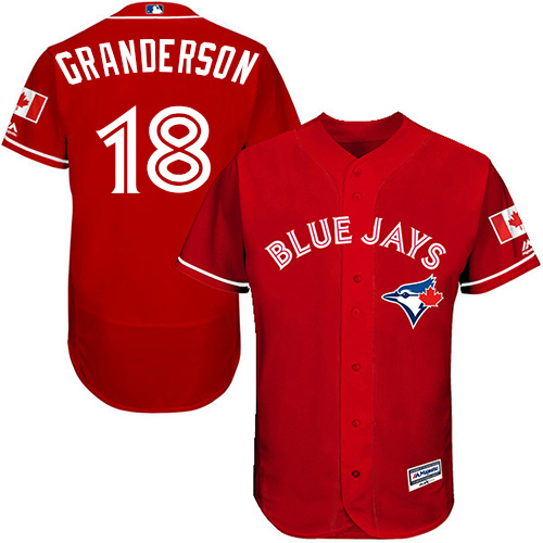 Men's Majestic Toronto Blue Jays #18 Curtis Granderson Scarlet Alternate Flex Base Authentic Collection Alternate MLB Jersey