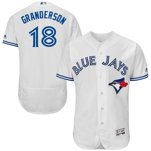 Men's Majestic Toronto Blue Jays #18 Curtis Granderson White Home Flex Base Authentic Collection MLB Jersey