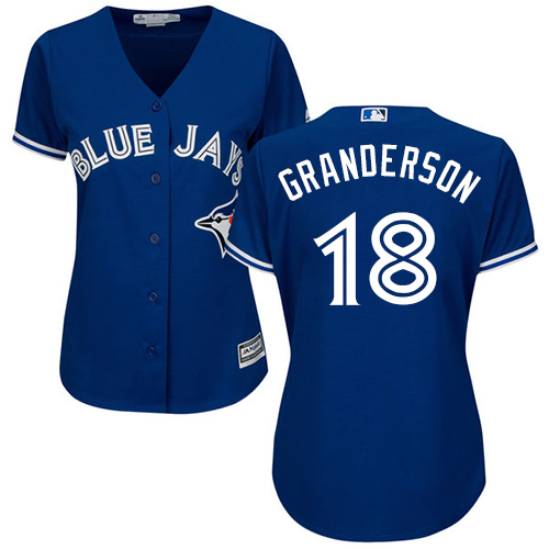 Women's Majestic Toronto Blue Jays #18 Curtis Granderson Replica Blue Alternate MLB Jersey