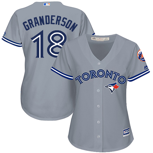 Women's Majestic Toronto Blue Jays #18 Curtis Granderson Replica Grey Road MLB Jersey