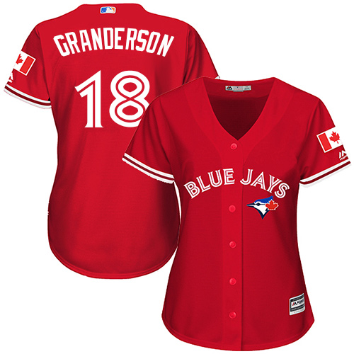 Women's Majestic Toronto Blue Jays #18 Curtis Granderson Replica Scarlet Alternate MLB Jersey