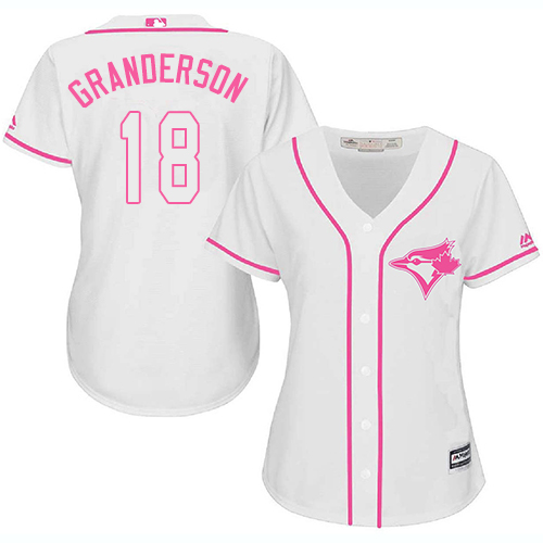 Women's Majestic Toronto Blue Jays #18 Curtis Granderson Replica White Fashion Cool Base MLB Jersey