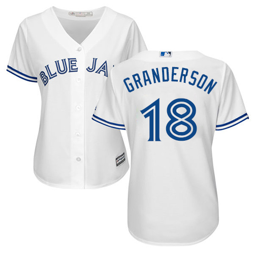 Women's Majestic Toronto Blue Jays #18 Curtis Granderson Replica White Home MLB Jersey