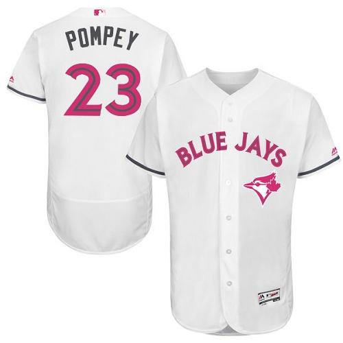 Men's Majestic Toronto Blue Jays #23 Dalton Pompey Authentic White 2016 Mother's Day Fashion Flex Base MLB Jersey