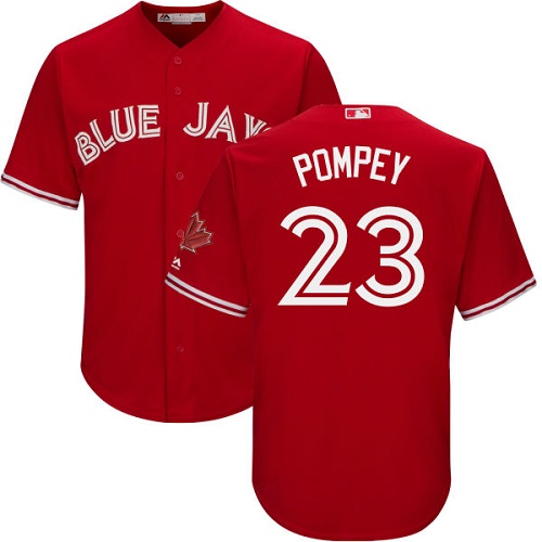 Men's Majestic Toronto Blue Jays #23 Dalton Pompey Replica Scarlet Alternate Cool Base MLB Jersey
