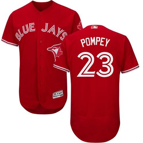Men's Majestic Toronto Blue Jays #23 Dalton Pompey Scarlet Flexbase Authentic Collection Alternate MLB Jersey