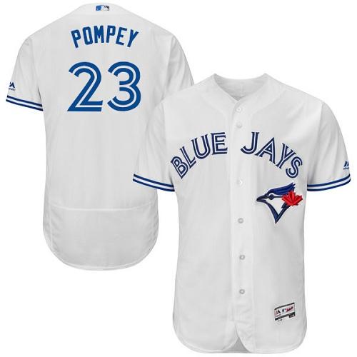Men's Majestic Toronto Blue Jays #23 Dalton Pompey White Home Flex Base Authentic Collection MLB Jersey