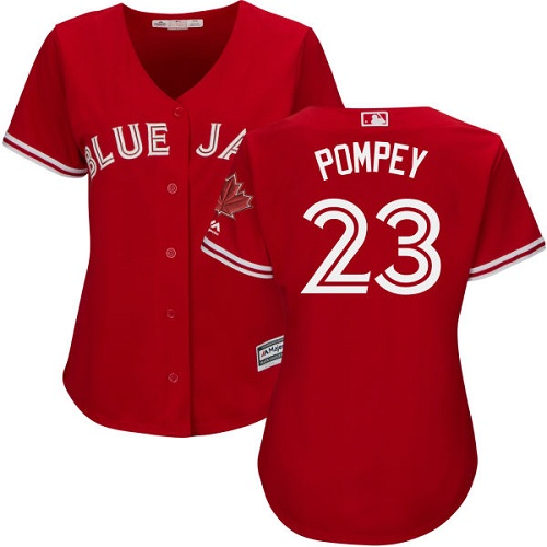 Women's Majestic Toronto Blue Jays #23 Dalton Pompey Authentic Scarlet Alternate MLB Jersey