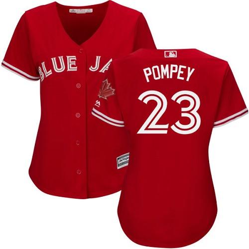 Women's Majestic Toronto Blue Jays #23 Dalton Pompey Replica Scarlet Alternate MLB Jersey