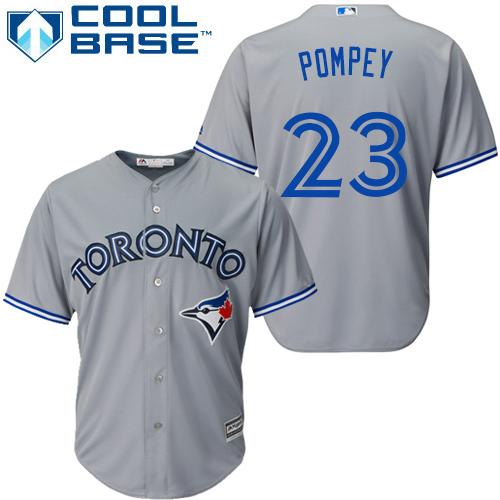 Youth Majestic Toronto Blue Jays #23 Dalton Pompey Authentic Grey Road MLB Jersey