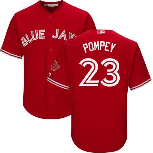 Youth Majestic Toronto Blue Jays #23 Dalton Pompey Authentic Scarlet Alternate MLB Jersey