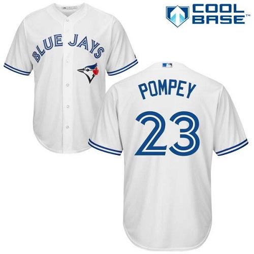 Youth Majestic Toronto Blue Jays #23 Dalton Pompey Replica White Home MLB Jersey