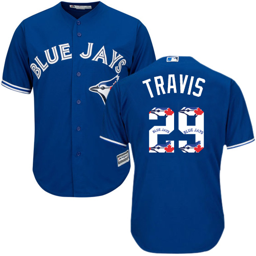 Men's Majestic Toronto Blue Jays #29 Devon Travis Authentic Blue Team Logo Fashion MLB Jersey