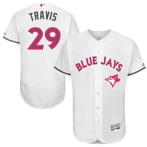 Men's Majestic Toronto Blue Jays #29 Devon Travis Authentic White 2016 Mother's Day Fashion Flex Base MLB Jersey