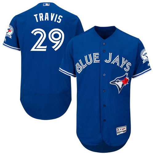 Men's Majestic Toronto Blue Jays #29 Devon Travis Blue Alternate Flex Base Authentic Collection MLB Jersey