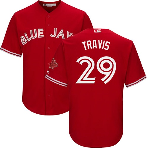 Men's Majestic Toronto Blue Jays #29 Devon Travis Replica Scarlet Alternate Cool Base MLB Jersey