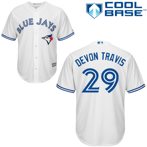 Men's Majestic Toronto Blue Jays #29 Devon Travis Replica White Home MLB Jersey