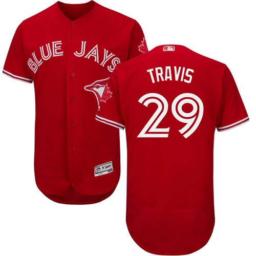 Men's Majestic Toronto Blue Jays #29 Devon Travis Scarlet Flexbase Authentic Collection Alternate MLB Jersey