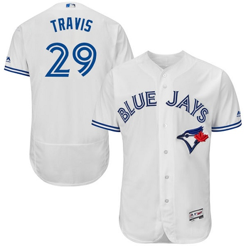 Men's Majestic Toronto Blue Jays #29 Devon Travis White Home Flex Base Authentic Collection MLB Jersey