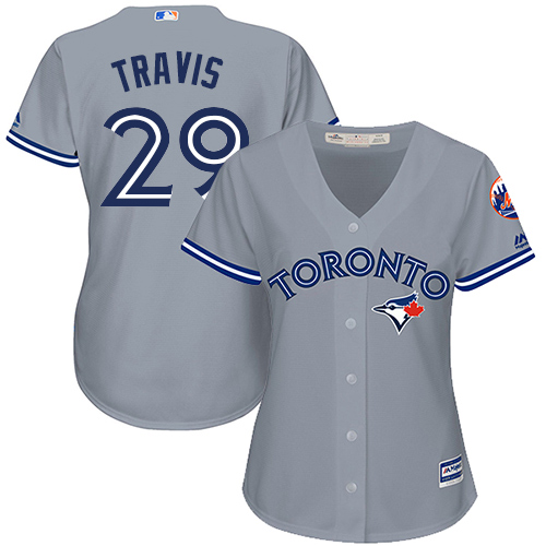 Women's Majestic Toronto Blue Jays #29 Devon Travis Replica Grey Road MLB Jersey