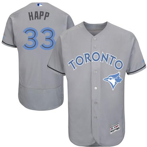 Men's Majestic Toronto Blue Jays #33 J.A. Happ Authentic Gray 2016 Father's Day Fashion Flex Base MLB Jersey