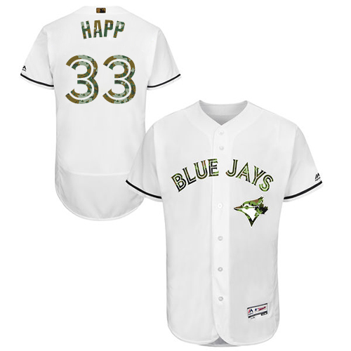 Men's Majestic Toronto Blue Jays #33 J.A. Happ Authentic White 2016 Memorial Day Fashion Flex Base MLB Jersey