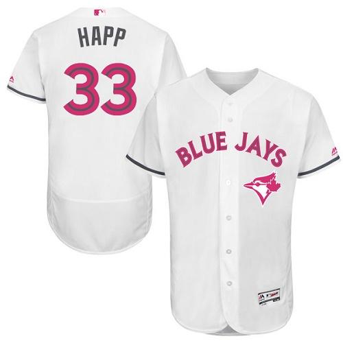 Men's Majestic Toronto Blue Jays #33 J.A. Happ Authentic White 2016 Mother's Day Fashion Flex Base MLB Jersey