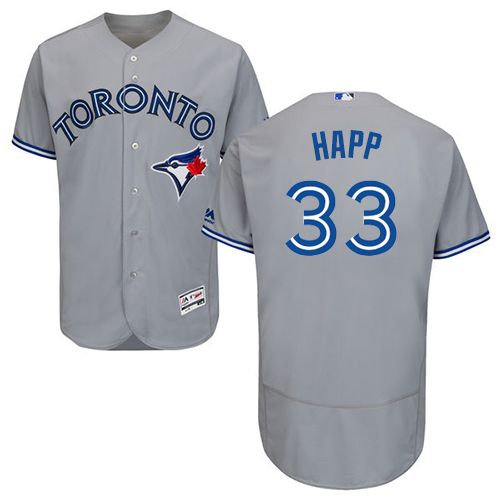 Men's Majestic Toronto Blue Jays #33 J.A. Happ Grey Road Flex Base Authentic Collection MLB Jersey