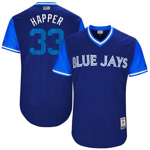Men's Majestic Toronto Blue Jays #33 J.A. Happ