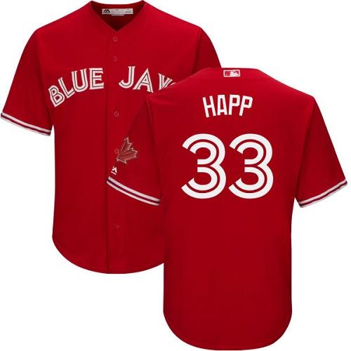 Men's Majestic Toronto Blue Jays #33 J.A. Happ Replica Scarlet Alternate Cool Base MLB Jersey