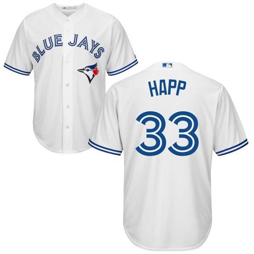 Men's Majestic Toronto Blue Jays #33 J.A. Happ Replica White Home MLB Jersey