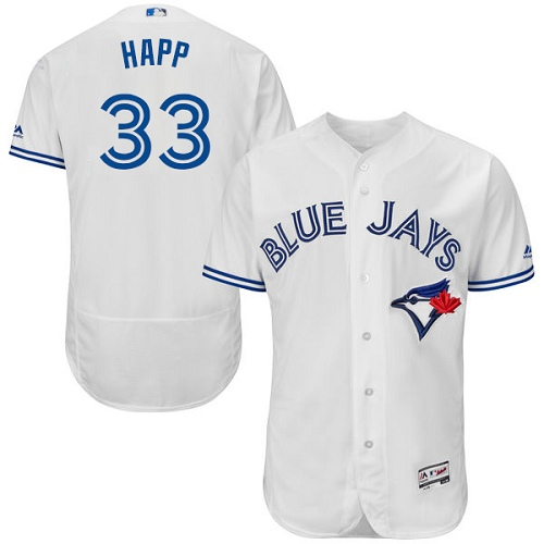 Men's Majestic Toronto Blue Jays #33 J.A. Happ White Home Flex Base Authentic Collection MLB Jersey