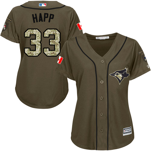 Women's Majestic Toronto Blue Jays #33 J.A. Happ Authentic Green Salute to Service MLB Jersey