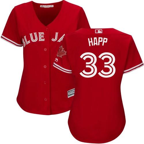 Women's Majestic Toronto Blue Jays #33 J.A. Happ Authentic Scarlet Alternate MLB Jersey